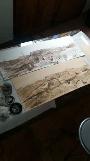 transferring the Drawing of 'Alacala La Real' to Plywood