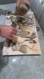 Pedro prepping the Plywood litho drawing with Gum Arabic