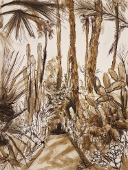 Jardin Majorelle, pencil, autographic ink, pen on Aquarelle.