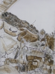 'Ourika', pencil, autographic ink, pen on Aquarelle, Ourika Valley, Atlas Mountains.