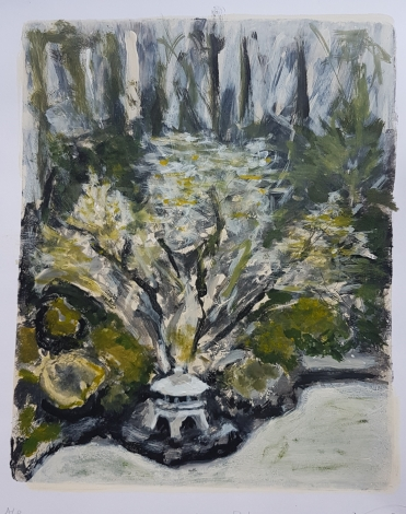 """Heavenly Falls"", Japanese Garden, Portland. sketchbook monprint, £35"